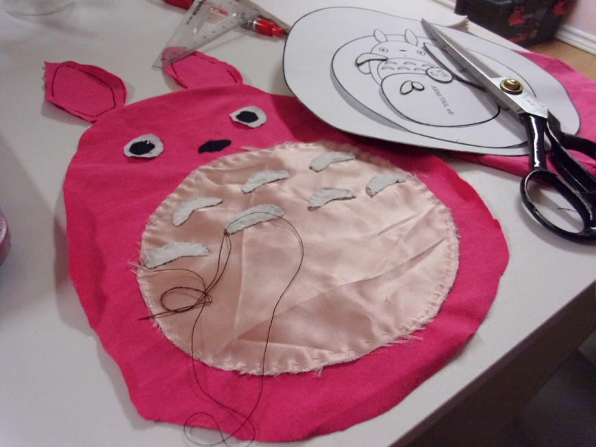 Totoro plushie in the making